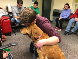 Student hugging a support dog